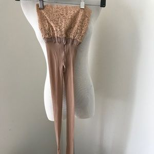 Commando tights Lace Waist sheer sexy nude New